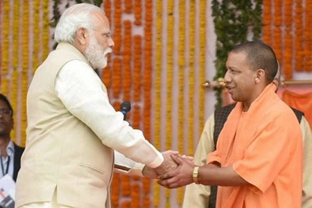 modi and yogi together