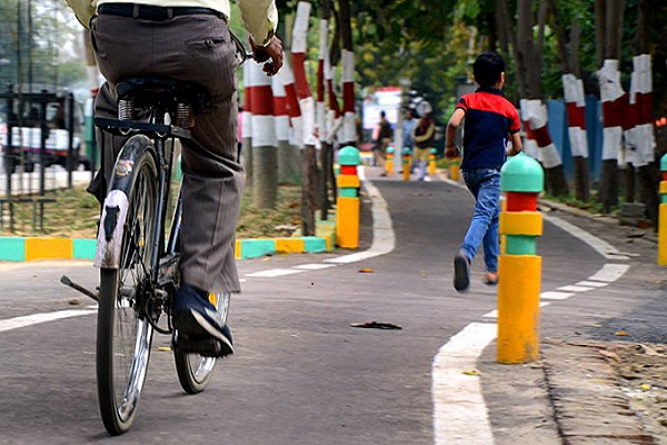 Yogi Sarkar in preparation for breaking cycle track created by Akhilesh