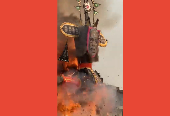 Burning effigy of prime minister